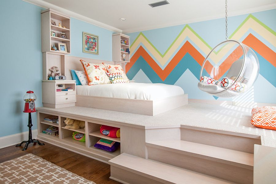 kids bedroom ... large chevron patterned wall offers both color and contrast [design:  weaver AYRKIOP